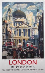 London, England Railway Travel Poster Print by LNER Railways, St Pauls Cathedral and Red Buses
